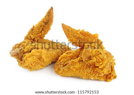 Fried Chicken Wings on white background - stock photo