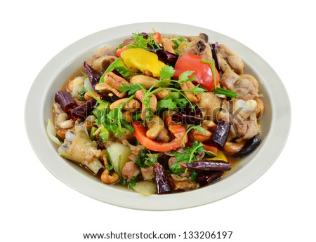 fried chicken with cashew nut for healthy food - stock photo