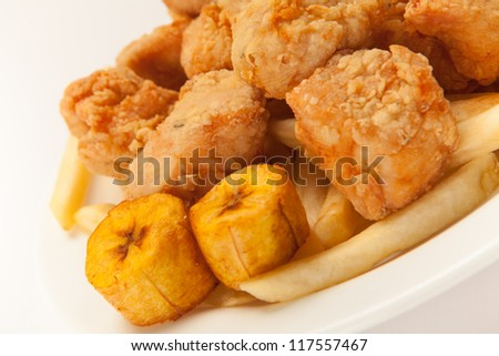 Banana French Fries Fried Chicken With French