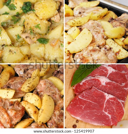 Fried chicken with potato chips spices and raw meat set - stock photo