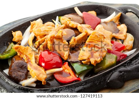 Fried Chicken with Vegetables - stock photo