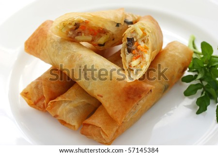 Fried Chinese Traditional Spring rolls - stock photo