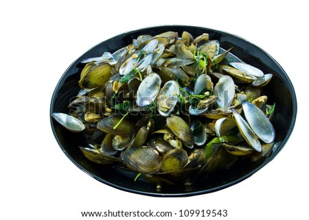 Fried clams with chili paste - stock photo