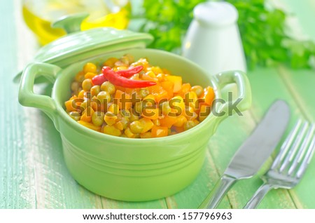 fried corn with peas - stock photo