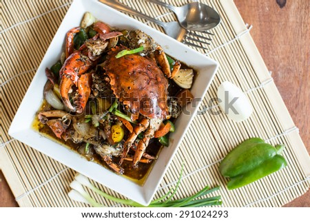 fried crab with black pepper - stock photo
