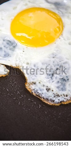 Fried egg in a frying pan - stock photo