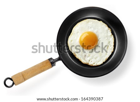 fried egg in frying pan isolated - stock photo