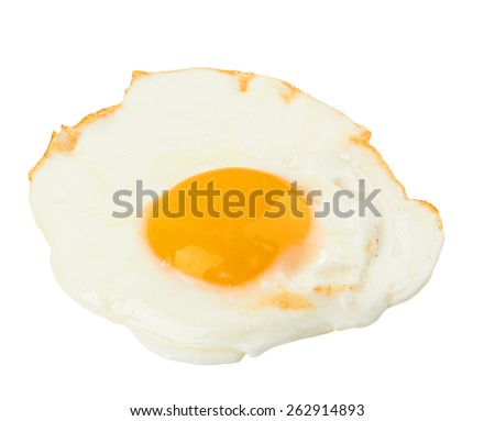 Fried egg isolated on a white background - stock photo