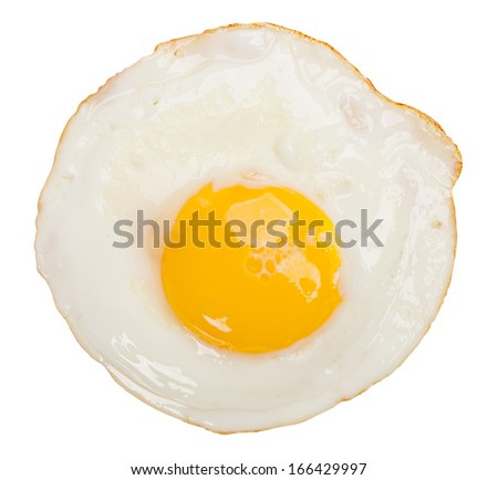 Fried egg isolated on white background - stock photo