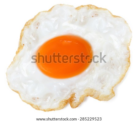 Fried egg on a white background - stock photo