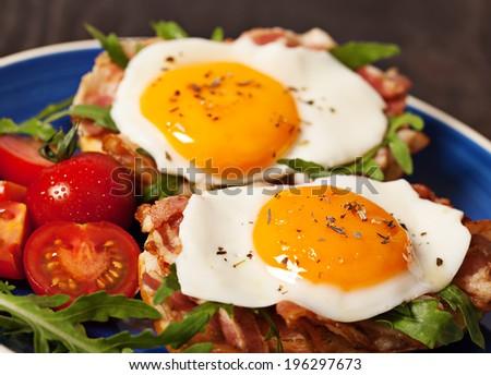 Fried egg sandwich breakfast meal - stock photo