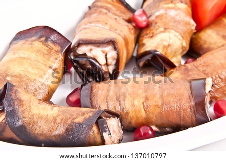 Fried eggplant - stock photo