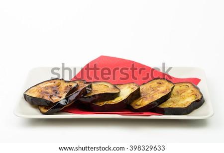Fried eggplant isolated on white background - stock photo