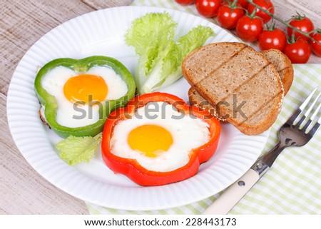 Fried eggs - stock photo