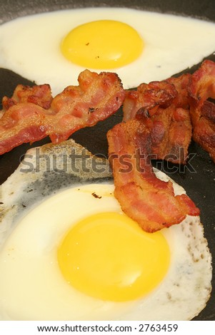 fried eggs & bacon vertical - stock photo