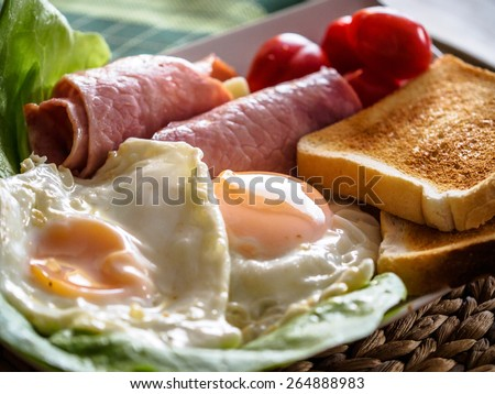 Fried Eggs, Ham and Tomatoes - stock photo