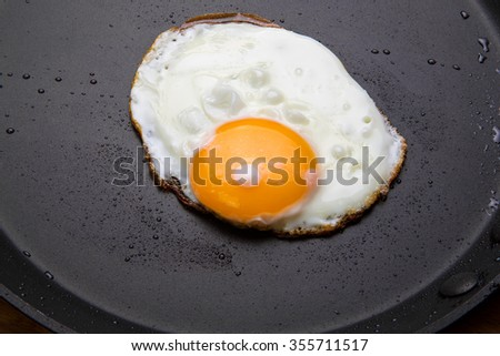 Fried eggs in a frying pan - stock photo