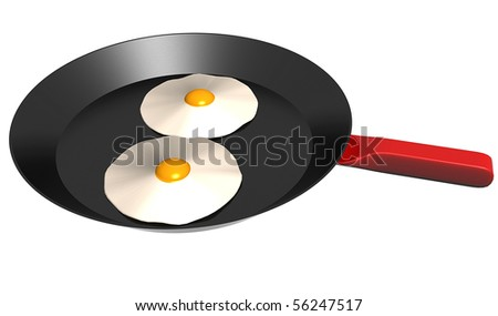Fried eggs on a pan - stock photo