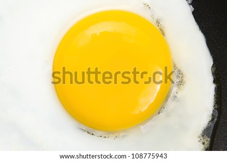 Fried eggs on on a pan - stock photo
