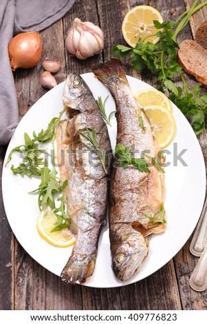 fried fish - stock photo