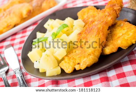 Fried fish and potato salad.Selective focus on the fried fish in the plate - stock photo