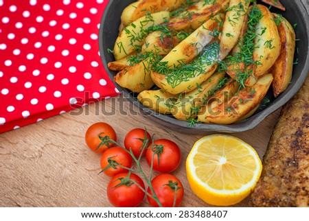 Fried fish and potatoes. Place for your text. - stock photo