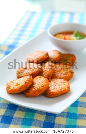 Fried Fish Cakes, Thai food - stock photo