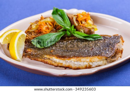 Fried fish fillet - stock photo