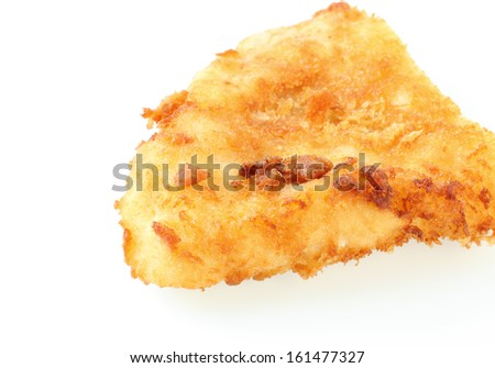 fried fish fillet on white background - stock photo