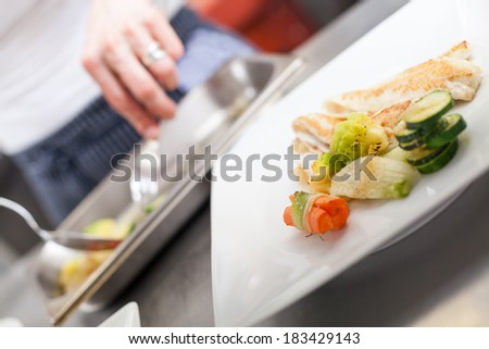 Fried fish fillets and vegetable garnish on a plate in a restaurant with space for salad or an additional serving of vegetables - stock photo