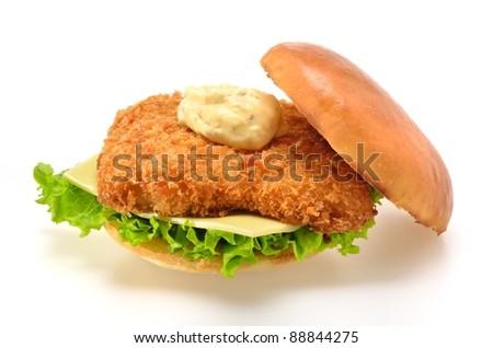 Fried Fish Sandwich on white background - stock photo