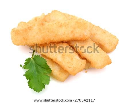 fried fish sticks with cilantro on white background  - stock photo