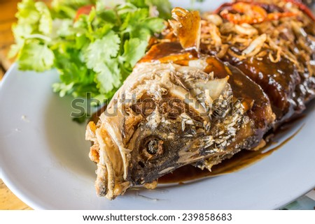 Fried Fish with Tamarind Sauce - stock photo