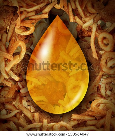 Fried Food oil drop icon as a concept of unhealthy greasy restaurant menu items as oily fried chicken french fries onion rings as a trans fat danger to the human heart. - stock photo