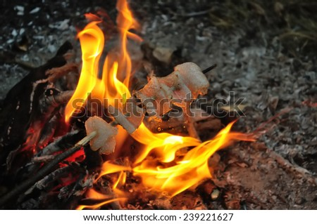 fried food on fire - stock photo