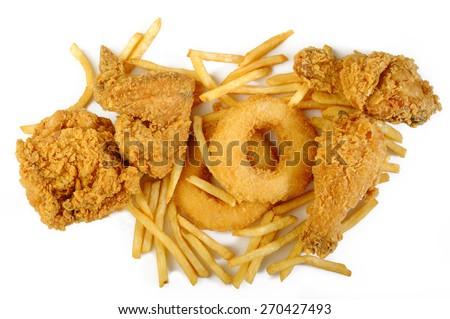 fried food on white background - stock photo