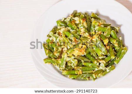 fried green string beans - stock photo