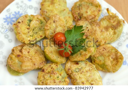 fried green tomatoes battered - stock photo