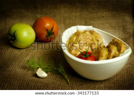 fried green tomatoes in vintage style  - stock photo
