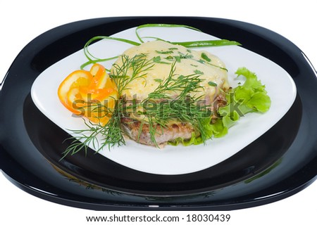 Fried juicy meat under cheese - stock photo