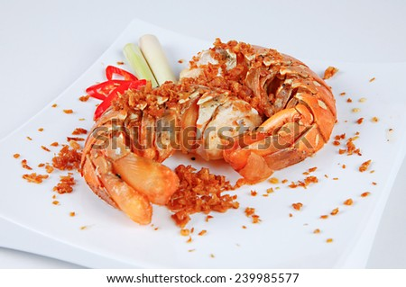 fried lobster with lemongrass - stock photo