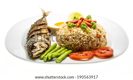 fried mackerel and rice-thai cuisine-namprik pla tu - stock photo