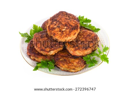 Fried meatballs on a plate isolated on white background - stock photo