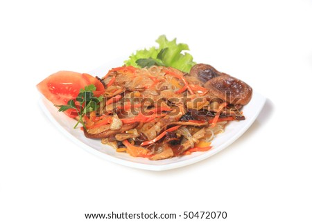 fried mushrooms. East,Asian food. - stock photo