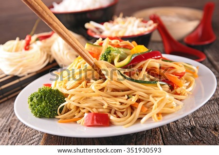 fried noodles and vegetables - stock photo