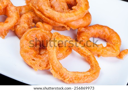 Fried Onion Ring in fast food - stock photo