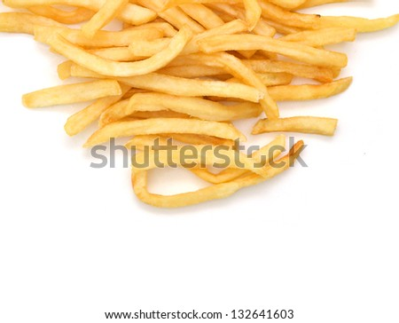 Fried potato chips isolated on white background - stock photo