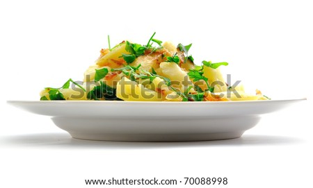Fried potato on a plate with greens; it is isolated on a white background - stock photo