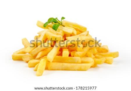 Fried Potato  on white background - stock photo