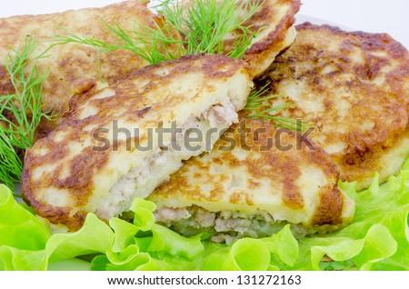 Fried potato pancakes - stock photo